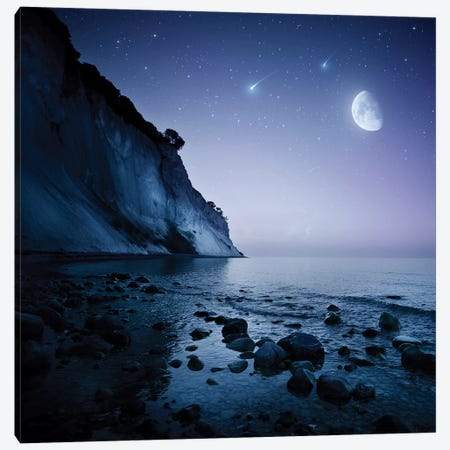 Rising Moon Over Ocean And Mountains Against Starry Sky. Canvas Print #TRK2513} by Evgeny Kuklev Canvas Wall Art