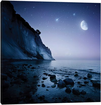 Rising Moon Over Ocean And Mountains Against Starry Sky. Canvas Art Print