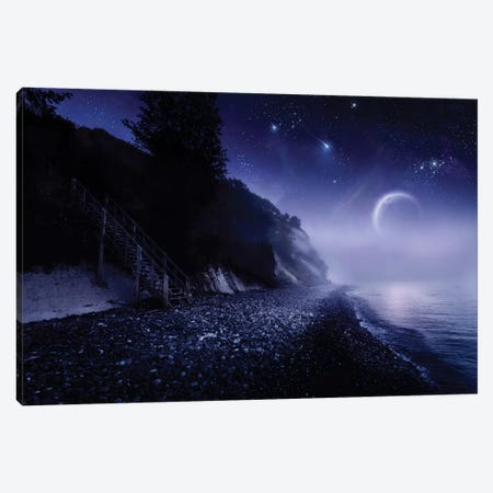 Rising Moon Over Ocean And Mountains Against Starry Sky. 3-Piece Canvas #TRK2514} by Evgeny Kuklev Art Print