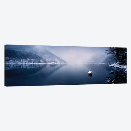 Ritsa Lake In The Snow Covered Mountains Of Ritsa Nature Reserve, Georgia I Canvas Print #TRK2518} by Evgeny Kuklev Canvas Wall Art