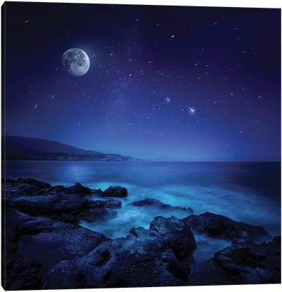 Rocks Seaside Against Rising Moon And Starry Field, Crete, Greece Canvas Art Print
