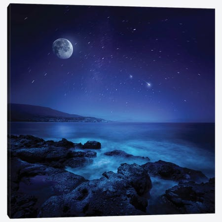 Rocks Seaside Against Rising Moon And Starry Field, Crete, Greece Canvas Print #TRK2520} by Evgeny Kuklev Canvas Print