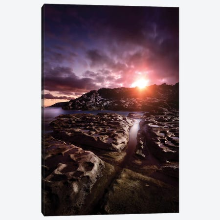 Rocky Shore And Tranquil Sea Against Cloudy Sky At Sunset, Sardinia, Italy I Canvas Print #TRK2521} by Evgeny Kuklev Canvas Print