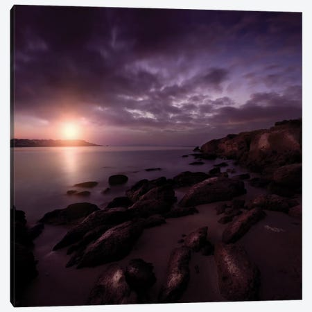 Rocky Shore And Tranquil Sea Against Cloudy Sky At Sunset, Sardinia, Italy II Canvas Print #TRK2522} by Evgeny Kuklev Canvas Print