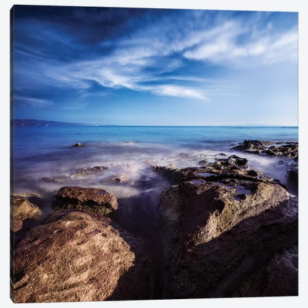 Rocky Shore And Tranquil Sea, Portoscuso, Sardinia, Italy I Canvas Print #TRK2525} by Evgeny Kuklev Canvas Wall Art
