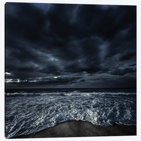 Rough Seaside Against Stormy Clouds, Hersonissos, Crete, Greece I Canvas Print #TRK2527} by Evgeny Kuklev Canvas Art