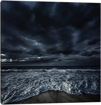 Rough Seaside Against Stormy Clouds, Hersonissos, Crete, Greece I Canvas Art Print