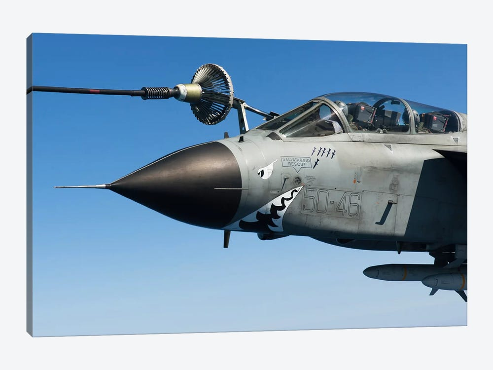 An Italian Air Force Tornado IDS Conducts In-Flight Refueling by Gert Kromhout 1-piece Canvas Print