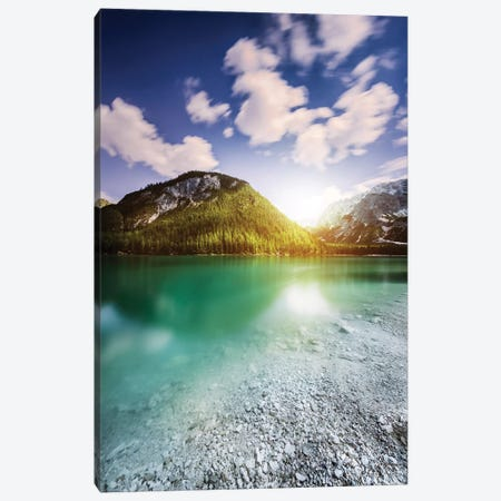 Sunset At Lake Braies And Dolomite Alps, Northern Italy Canvas Print #TRK2560} by Evgeny Kuklev Canvas Print