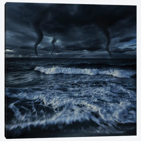 Tornados In A Rough Sea Against Stormy Clouds, Crete, Greece Canvas Print #TRK2564} by Evgeny Kuklev Canvas Wall Art