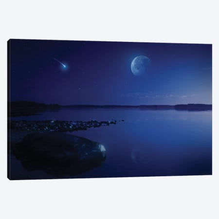 Tranquil Lake Against Starry Sky, Moon And Falling Meteorite, Finland I Canvas Print #TRK2566} by Evgeny Kuklev Canvas Wall Art