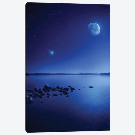 Tranquil Lake Against Starry Sky, Moon And Falling Meteorite, Finland II Canvas Print #TRK2567} by Evgeny Kuklev Canvas Art