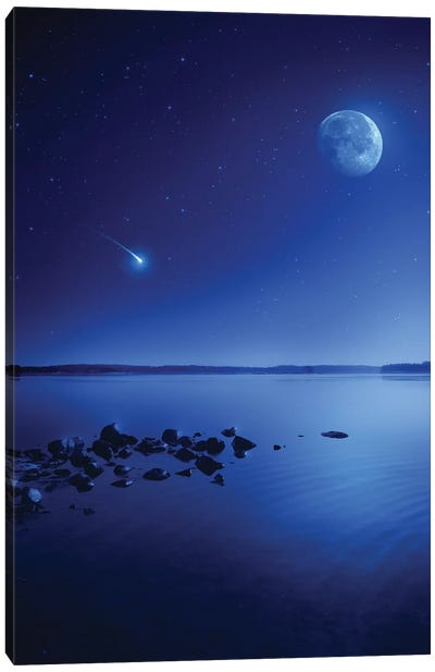 Tranquil Lake Against Starry Sky, Moon And Falling Meteorite, Finland II Canvas Art Print