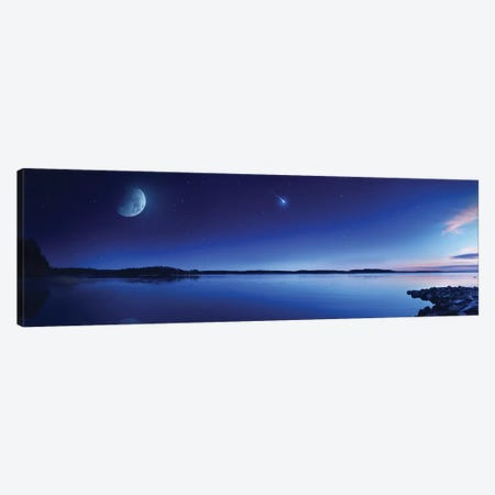 Tranquil Lake Against Starry Sky, Moon And Falling Meteorite, Finland III Canvas Print #TRK2568} by Evgeny Kuklev Art Print