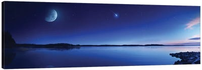 Tranquil Lake Against Starry Sky, Moon And Falling Meteorite, Finland III Canvas Art Print