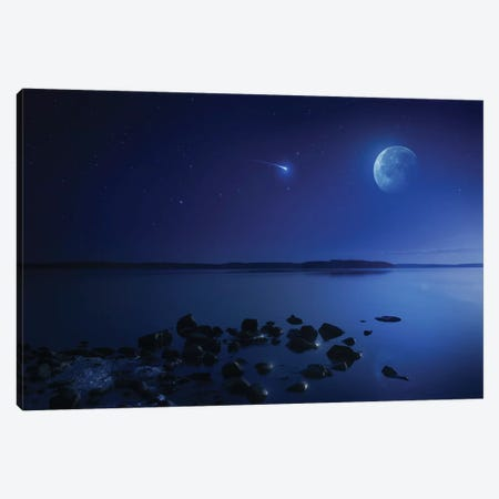 Tranquil Lake Against Starry Sky, Moon And Falling Meteorite, Finland IV Canvas Print #TRK2569} by Evgeny Kuklev Art Print