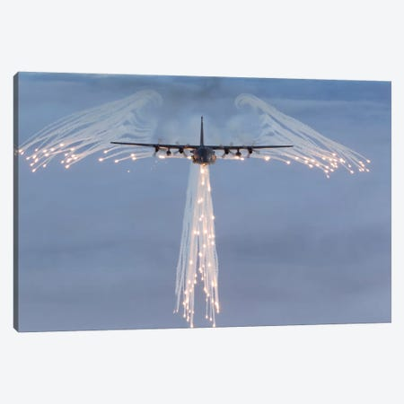 MC-130H Combat Talon Dropping Flares Canvas Print #TRK256} by Gert Kromhout Canvas Print