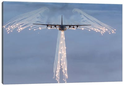 MC-130H Combat Talon Dropping Flares Canvas Art Print