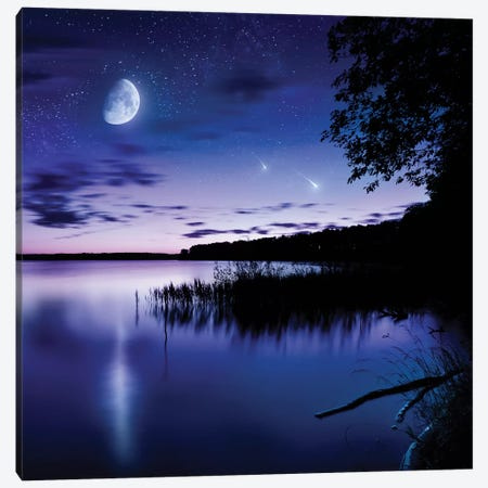 Tranquil Lake Against Starry Sky, Moon And Falling Meteorites, Russia Canvas Print #TRK2570} by Evgeny Kuklev Canvas Artwork