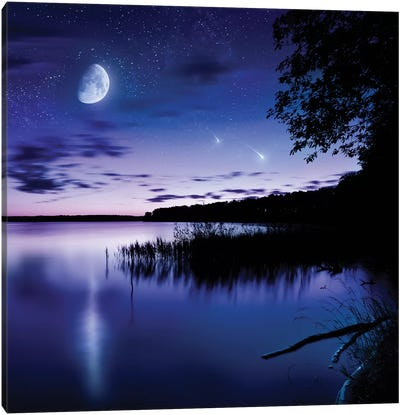 Tranquil Lake Against Starry Sky, Moon And Falling Meteorites, Russia Canvas Art Print