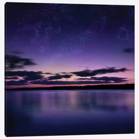 Tranquil Lake Against Starry Sky, Russia Canvas Print #TRK2571} by Evgeny Kuklev Canvas Art