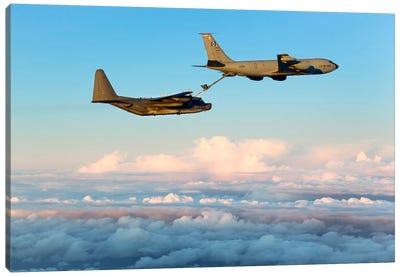 MC-130H Combat Talon II Being Refueled By A KC-135R Stratotanker Canvas Art Print