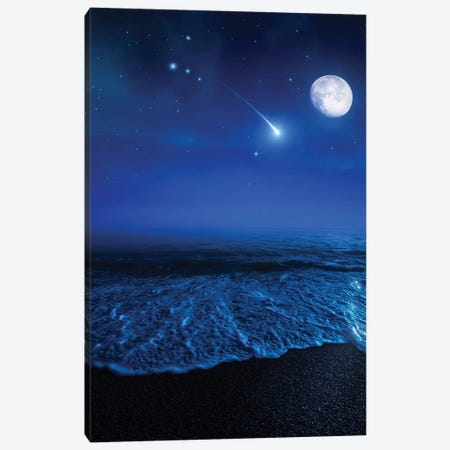 Tranquil Ocean At Night Against Starry Sky, Moon And Falling Meteorite Canvas Print #TRK2580} by Evgeny Kuklev Canvas Art Print