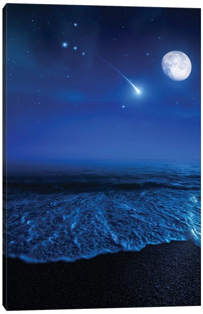 Tranquil Ocean At Night Against Starry Sky, Moon And Falling Meteorite Canvas Art Print