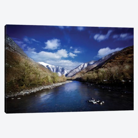 Tranquil River In The Mountains Against Cloudy Sky, Ritsa Nature Reserve Canvas Print #TRK2581} by Evgeny Kuklev Canvas Print