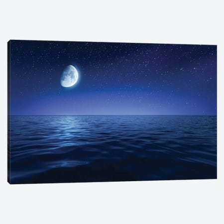 Tranquil Seas Against Rising Moon In A Starry Sky, Crete, Greece 3-Piece Canvas #TRK2584} by Evgeny Kuklev Canvas Wall Art