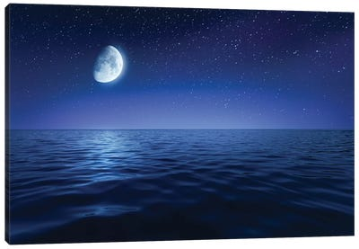 Tranquil Seas Against Rising Moon In A Starry Sky, Crete, Greece Canvas Art Print
