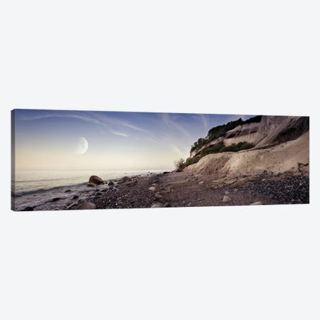 Tranquil Seaside And Mons Klint Cliffs Against Rising Moon, Denmark Canvas Print #TRK2585} by Evgeny Kuklev Canvas Artwork