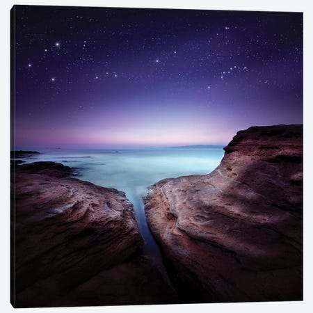 Two Large Rocks In A Sea, Against Starry Sky Canvas Print #TRK2586} by Evgeny Kuklev Canvas Art