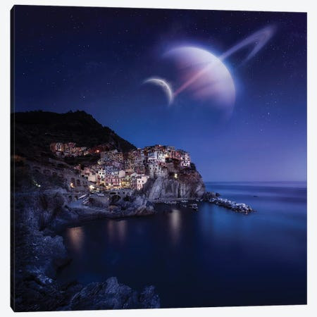View Of Manarola On A Starry Night With Planets, Northern Italy Canvas Print #TRK2590} by Evgeny Kuklev Canvas Wall Art