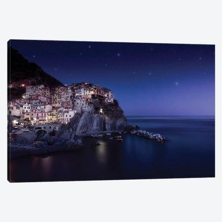 View Of Manarola On A Starry Night, La Spezia, Liguria, Northern Italy Canvas Print #TRK2591} by Evgeny Kuklev Canvas Artwork