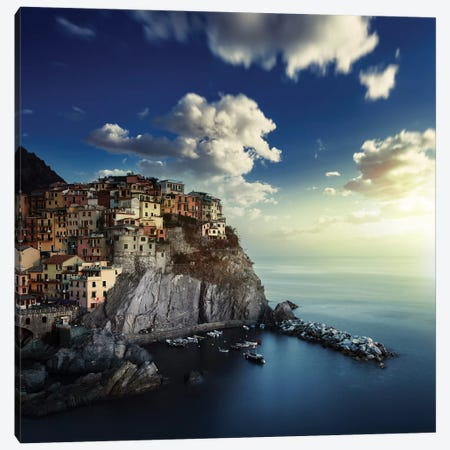 View Of Manarola On The Rocks At Sunset, La Spezia, Liguria, Northern Italy Canvas Print #TRK2592} by Evgeny Kuklev Canvas Art