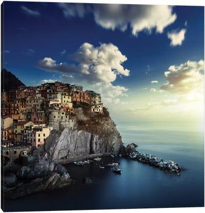 View Of Manarola On The Rocks At Sunset, La Spezia, Liguria, Northern Italy Canvas Art Print