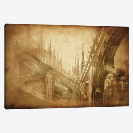 Vintage Photo Of Architectural Elements On A Church Roof In Milan, Italy Canvas Print #TRK2594} by Evgeny Kuklev Canvas Art Print