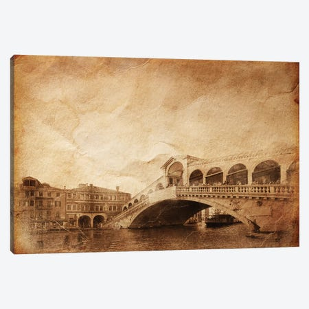 Vintage Photo Of Grand Canal And Rialto Bridge In Venice, Italy Canvas Print #TRK2598} by Evgeny Kuklev Canvas Art