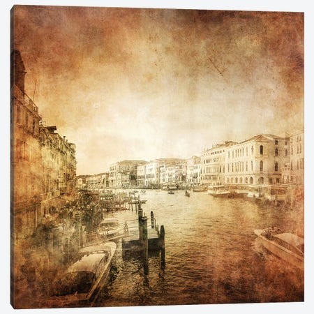 Vintage Photo Of Grand Canal, Venice, Italy Canvas Print #TRK2599} by Evgeny Kuklev Canvas Art