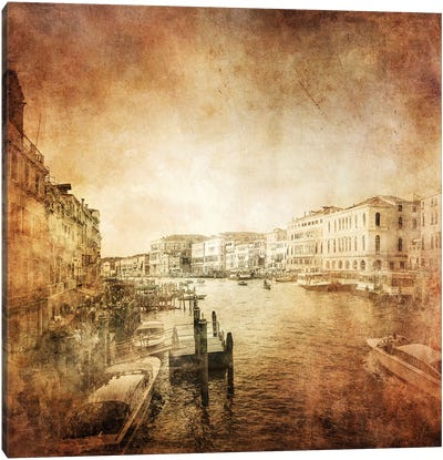 Vintage Photo Of Grand Canal, Venice, Italy Canvas Art Print