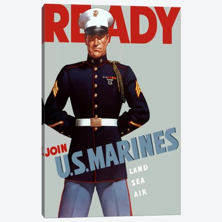Marine Corps Recruiting Poster From WWII Canvas Print #TRK25} by John Parrot Canvas Art Print