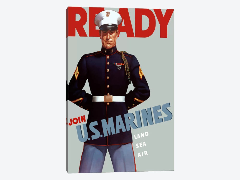 Marine Corps Recruiting Poster From WWII by John Parrot 1-piece Canvas Wall Art