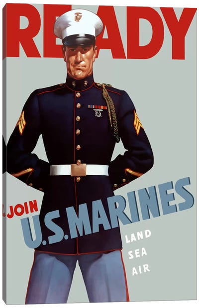 Marine Corps Recruiting Poster From WWII Canvas Art Print