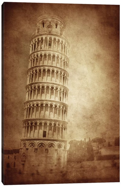 Vintage Photo Of The Leaning Tower Of Pisa, Italy Canvas Art Print