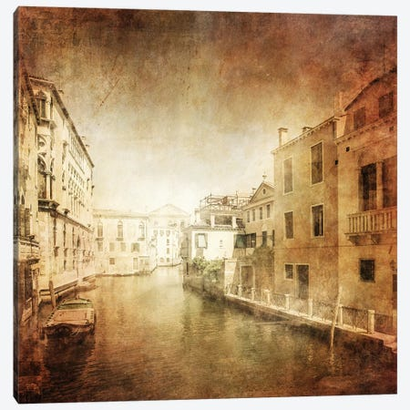 Vintage Photo Of Venetian Canal, Venice, Italy II Canvas Print #TRK2602} by Evgeny Kuklev Canvas Artwork