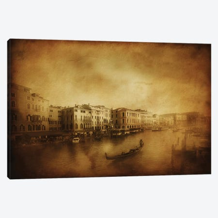 Vintage Shot Of Grand Canal, Venice, Italy Canvas Print #TRK2603} by Evgeny Kuklev Canvas Art