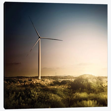 Wind Turbine In A Field In The Evening, Sardinia, Italy Canvas Print #TRK2609} by Evgeny Kuklev Canvas Artwork