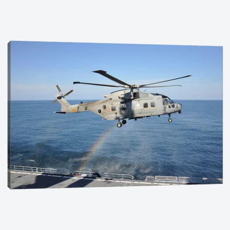 An Italian Navy EH-101ASH Helicopter Canvas Print #TRK260} by Giorgio Ciarini Canvas Print