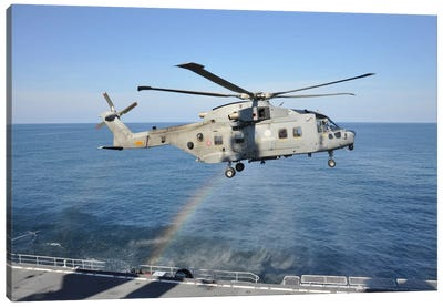 An Italian Navy EH-101ASH Helicopter Canvas Art Print